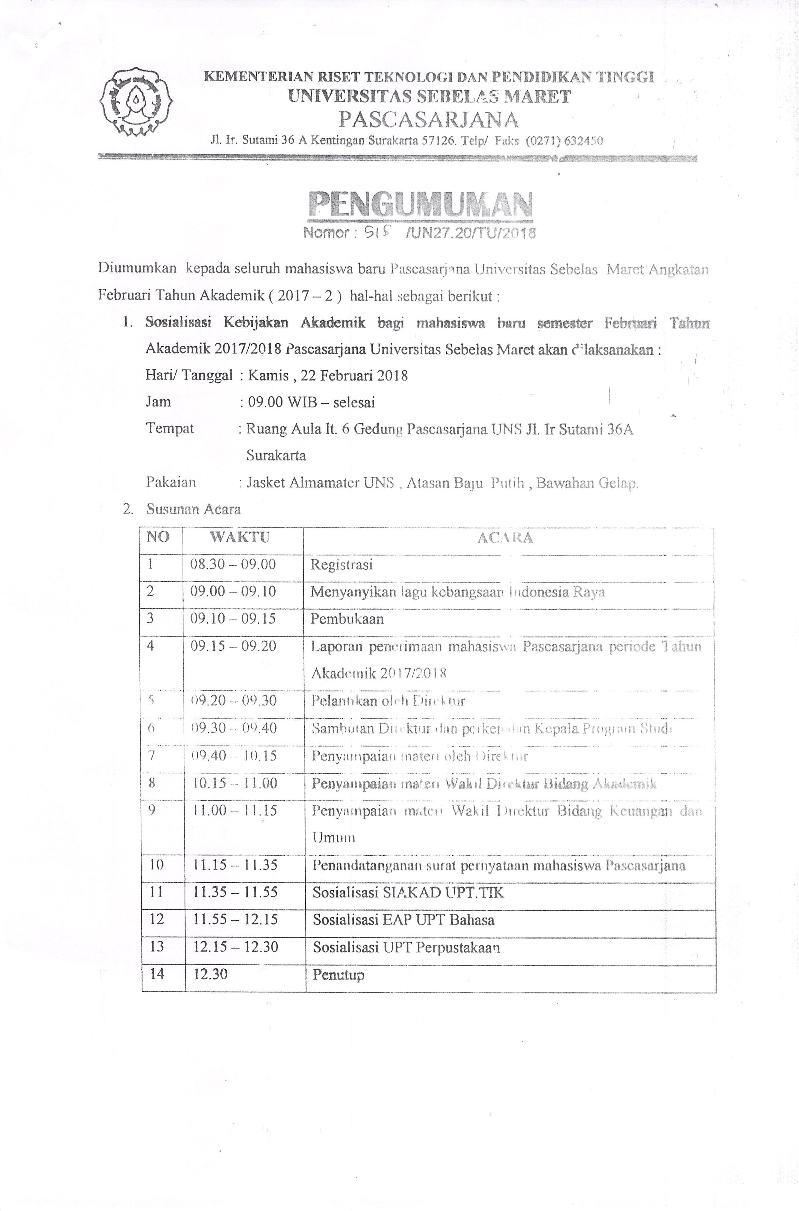 Agenda Sosialisasi dan Pengambilan Jasket Almamater Mahasiswa Baru Angkatan Februari - Juli 2018
