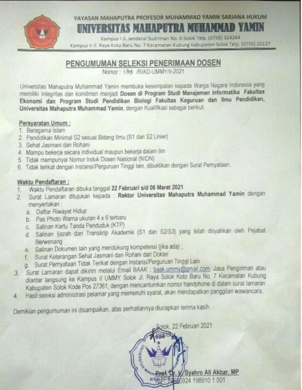 Seleksi Penerimaan Dosen Pendidikan Biologi Universitas Muhammad Yamin Pascasarjana Fkip
